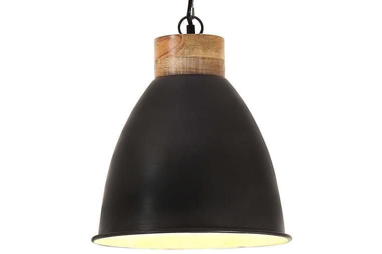 Industriell hengelampe svart jern og heltre 35 cm E27 - Svart - Belysning - Innendørsbelysning & Lamper - Taklampe