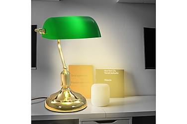 Bordlampe i bankerstil 40 W grønn og gull