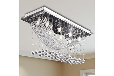 Hvit taklampe med glitrende glasskrystalperler 8xG9 29 cm