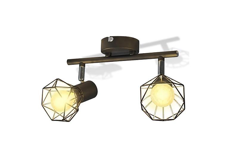 Sort spotlight, trådramme i industriell stil med 2 LED lys - Svart - Belysning - Innendørsbelysning & Lamper - Taklampe