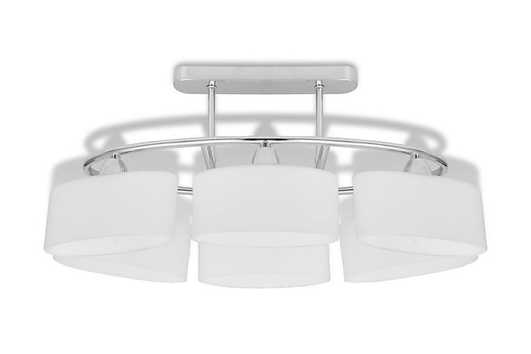 Taklampe med ellipseformede glasskjermer 2 stk E14 - Hvit - Belysning - Innendørsbelysning & Lamper - Taklampe