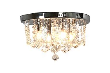 Taklampe med krystallperler sølv rund 4 x G9 lyspærer