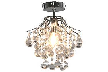 Taklampe med krystallperler sølv rund E14