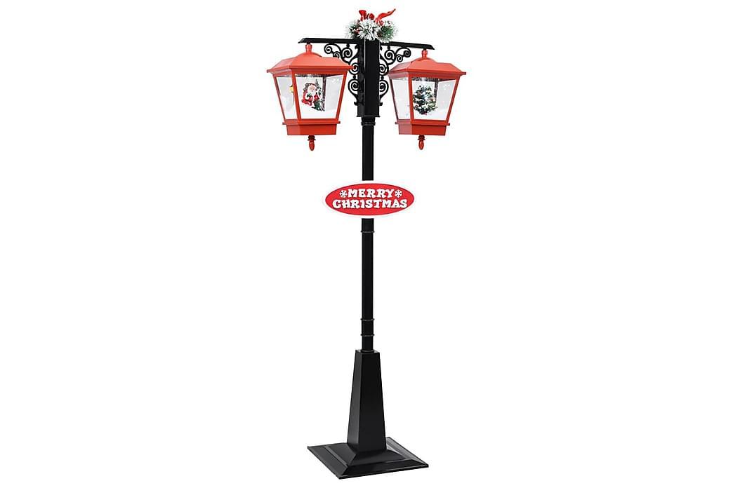 Julegatelampe med julenisse svart & rød 81x40x188 cm PVC - Belysning - Julebelysning - Julebelysning utendørs