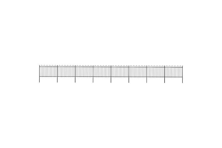 Hagegjerde med buet topp stål 13,6x1,2 m svart - Svart - Hage - Hagedekorasjon & utemiljø - Gjerder & Grinder