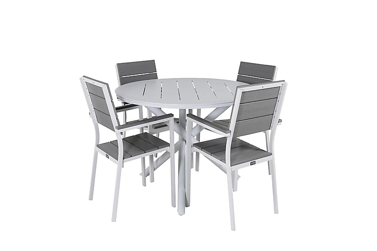 Spisegruppe Almedalen Rundt 120 cm + 4 Konob Sablestoler - Hagemøbler - Spisegrupper hage - Komplette spisegrupper