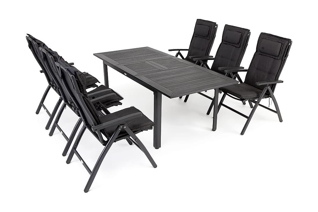 Spisegruppe Hillerstorp Nydala 90x150-200+6 Posisjonsstoler - Svart - Hagemøbler - Spisegrupper hage - Komplette spisegrupper