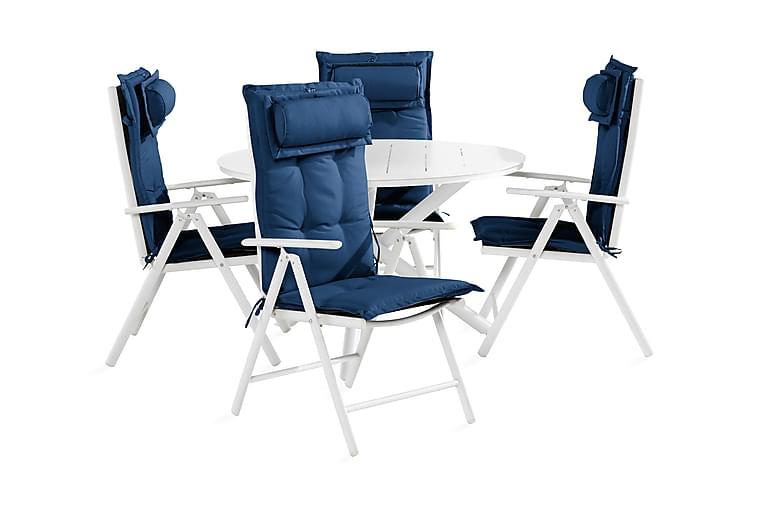 Spisegruppe Space 120 cm Rund + 4 Maggie Positionsstol m Put - Svart Blå Hvit Grå - Hagemøbler - Spisegrupper hage - Komplette spisegrupper