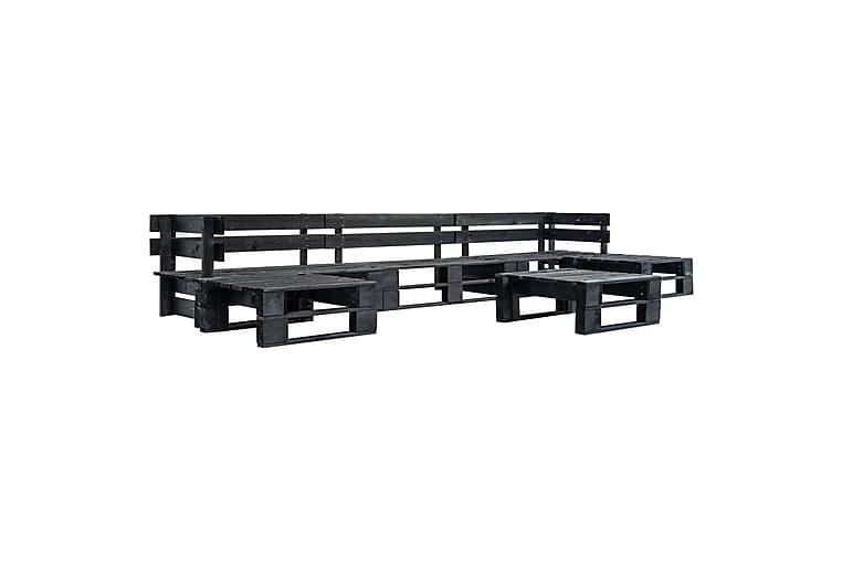 Hagemøbelsett 6 deler tre svart - Hagemøbler - Loungemøbler - Loungesofaer