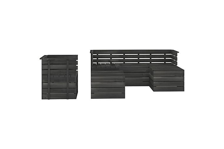 Hagemøbelsett 6 deler paller heltre furu mørkegrå - Grå - Hagemøbler - Loungemøbler - Loungegrupper