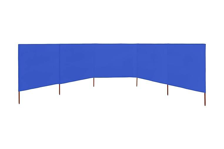 Vindskjerm 5 paneler stoff 600x80 cm asurblå - Blå - Hagemøbler - Solbeskyttelse - Avskjerming & vindskjerm