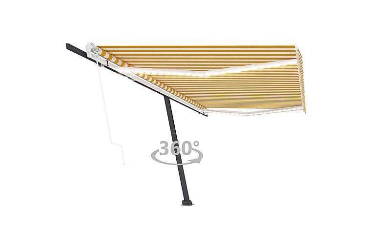 Automatisk markise med vindsensor og LED 500x300 cm gul/hvit - Gul - Hagemøbler - Solbeskyttelse - Markiser