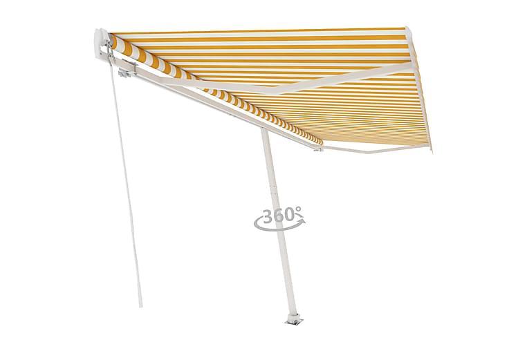 Frittstående manuell uttrekkbar markise 500x300 cm - Gul - Hagemøbler - Solbeskyttelse - Markiser
