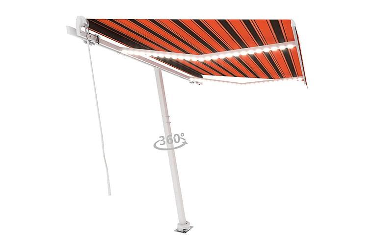Manuell uttrekkbar markise med LED 350x250 cm - Oransj - Hagemøbler - Solbeskyttelse - Markiser