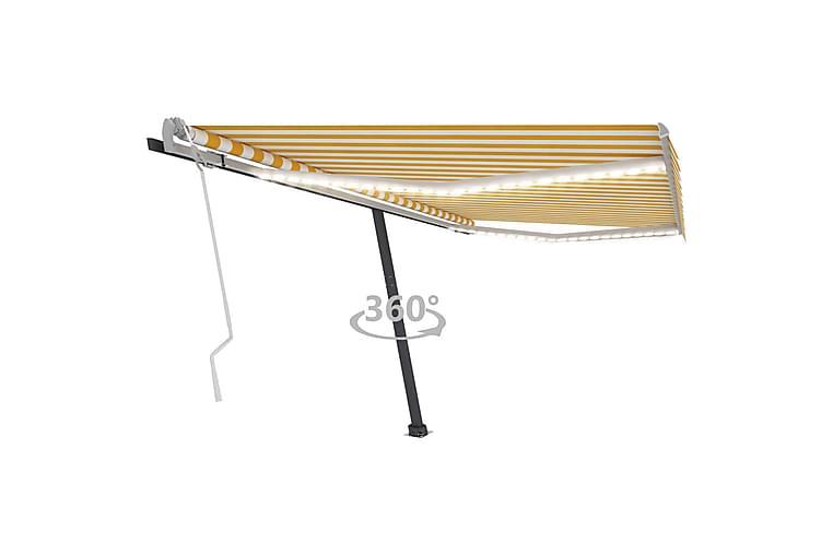 Manuell uttrekkbar markise med LED 450x300 cm gul og hvit - Gul - Hagemøbler - Solbeskyttelse - Markiser