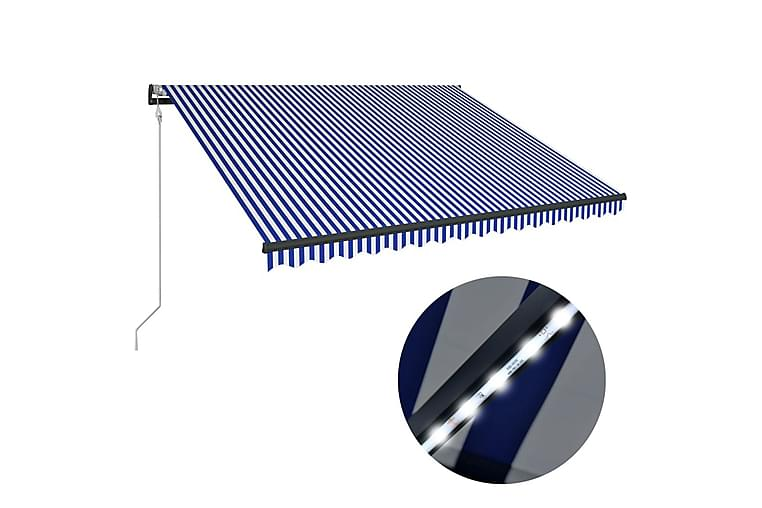 Markise med vindsensor og LED 300x250 cm blå og hvit - Hagemøbler - Solbeskyttelse - Markiser