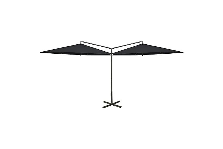 Dobbel parasoll med stålstolpe svart 600 cm - Svart - Hagemøbler - Solbeskyttelse - Parasoller