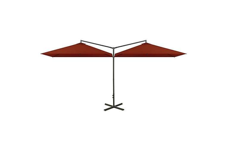 Dobbel parasoll med stålstolpe terrakotta 600x300 cm - Hagemøbler - Solbeskyttelse - Parasoller