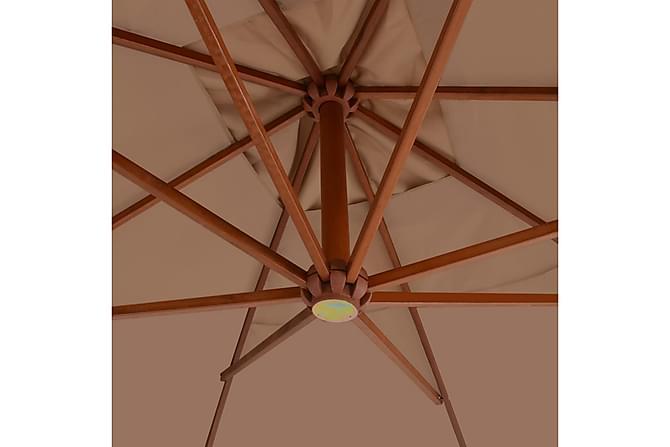 Hengeparasoll med trestang 400x300 cm gråbrun - Hagemøbler - Solbeskyttelse - Parasoller