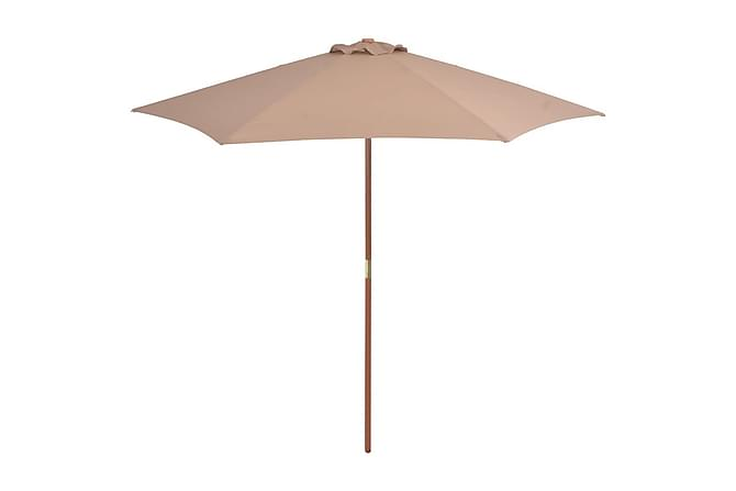 Parasoll med trestang 270 cm gråbrun - Brun|Beige - Hagemøbler - Solbeskyttelse - Parasoller