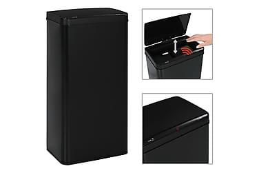 Automatisk søppelbøtte med sensor svart stål 80 L