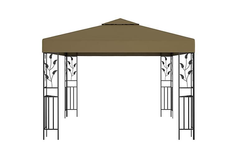 Paviljong 3x3 m gråbrun 180 g/m² - Taupe - Hagemøbler - Solbeskyttelse - Paviljonger