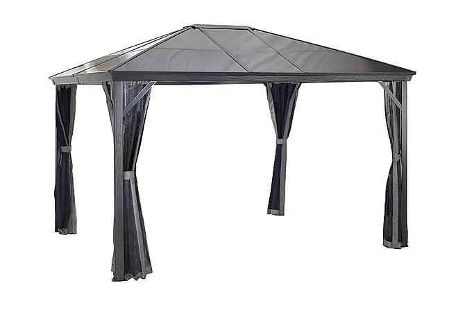 Pergola Verona 10 x 10 tak av 6 mm kanalplast - Svart - Hagemøbler - Solbeskyttelse - Pergola