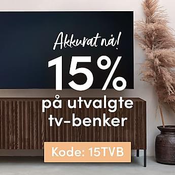15% på utvalgte tv-benker