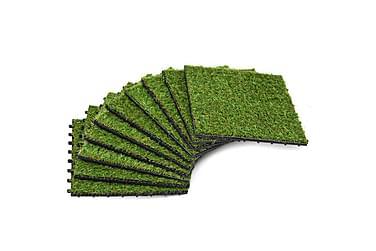 Kunstgressfliser 10 stk 30x30 cm grønn