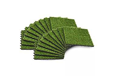 Kunstgressfliser 20 stk 30x30 cm grønn