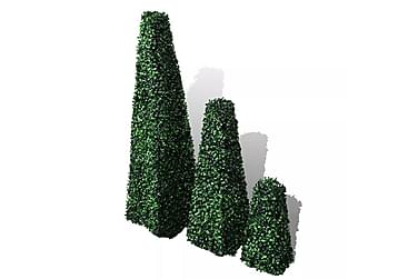 Sett 3stk Kunstige Buksbom Pyramide Topiary