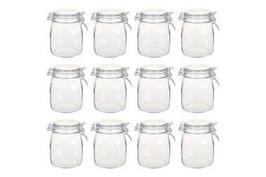 Glasskrukker med lokk 12 stk 1 L