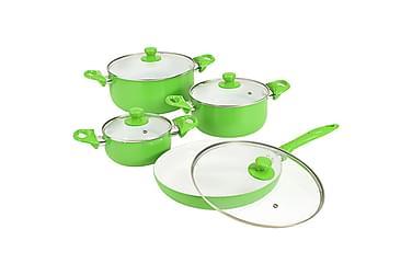 Grytesett 8 deler grønn aluminium