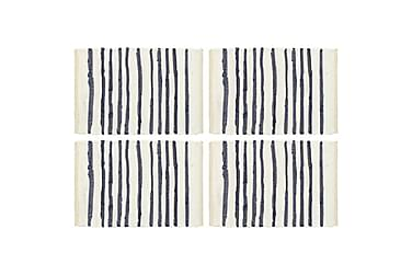 Bordmatter 4 stk blå og hvit 30x45 cm bomull