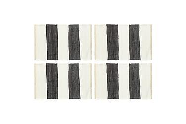 Bordmatter 4 stk Chindi stripet antrasitt hvit 30x45 cm