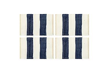 Bordmatter 4 stk Chindi stripet blå og hvit 30x45 cm