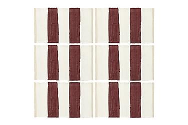 Bordmatter 6 stk Chindi stripet burgunder hvit 30x45 cm