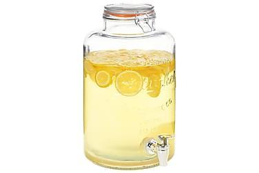 Vanndispenser XXL med kran gjennomsiktig 8 L glass