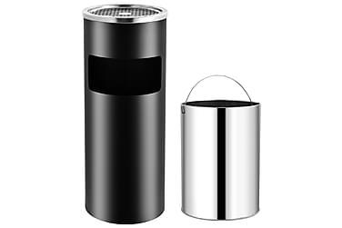 Søppelkasse med askebeger 30 L stål svart