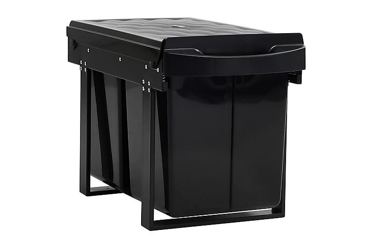 Uttrekkbar søppelbøtte til kjøkkenskap myktlukkende 48 L - Svart - Innredning - Kjøkkenutstyr - Søppelbøtte & papirkurv