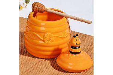 Krukke Kosova m Lokk 14 cm Biekube m Mønster Keramikk