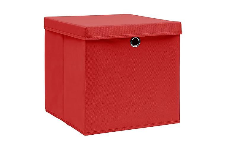 Oppbevaringsbokser med deksler 4 stk 28x28x28 cm rød - Rød - Innredning - Kurver & bokser - Kasser