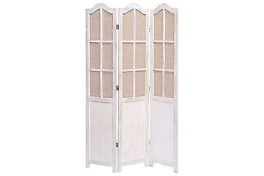Romdeler 3 paneler hvit 105x165 cm stoff