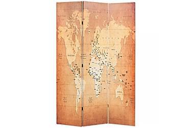 Romdeler 120x180 cm verdenskart gul