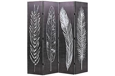 Romdeler 160x180 cm fjær svart og hvit