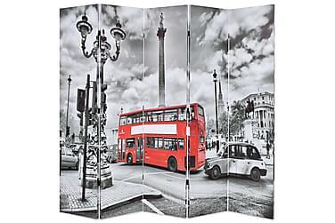 Romdeler 200x180 cm London buss svart og hvit