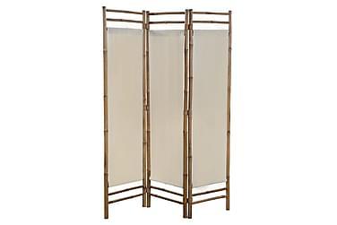 Sammenleggbar romdeler 3-paneler bambus og lerret 120 cm