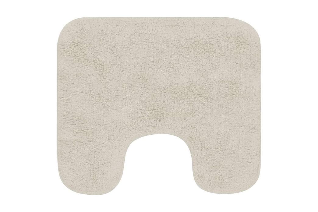 Baderomsmattesett 2 stk stoff hvit - Grå|Beige - Innredning - Tekstiler - Baderomstekstiler