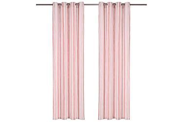 Gardiner med metallringer 2 stk bomull 140x245 cm rosa strip