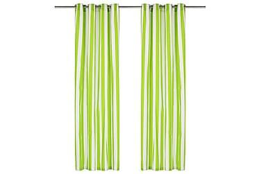 Gardiner med metallringer 2 stk stoff 140x225 cm grønn strip